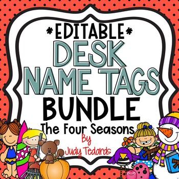 Four Seasons Desk Name Tags BUNDLE...Editable
