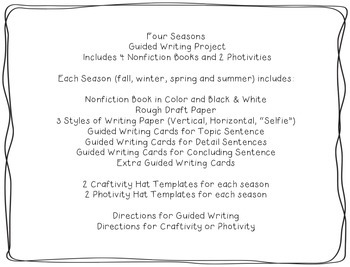 Four Seasons Guided Writing with Nonfiction Readers and Craftivity/Photivity