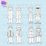 Four Seasons Line Art Clip Art