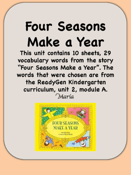 ReadyGen Four Seasons Make a Year Vocabulary, Kindergarten, Unit 2, Module A