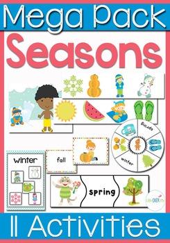 Four Seasons Math & Literacy Mega Pack for Seasons and Season Words
