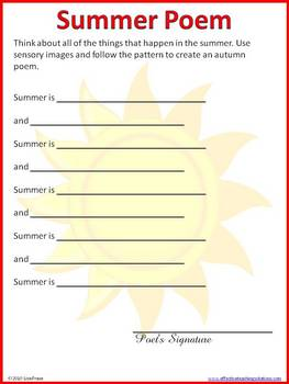 Four Seasons Poetry Writing Patterns with Sample Poems