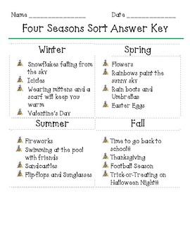 Four Seasons Sorting Activity
