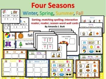 Four Seasons: Summer, Spring, Fall, Winter; Sort; Match; Reader; Autism;