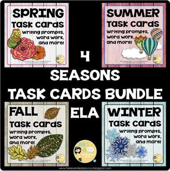 Four Seasons Task Card ELA Bundle - Spring / Summer / Winter / Fall