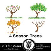 Four Seasons Tree Clip Art - Spring, Summer, Autumn, Winte