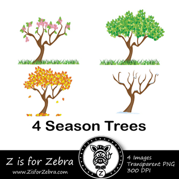 Four Seasons Tree Clip Art - Spring, Summer, Autumn, Winte