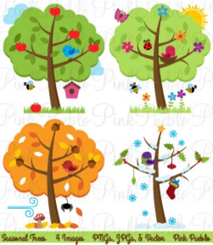 Four Seasons Trees and Birds Clip Art - Commercial and Personal Use