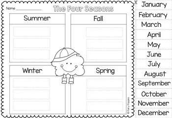 four seasons charts worksheets sorting activities by fairy poppins. Black Bedroom Furniture Sets. Home Design Ideas