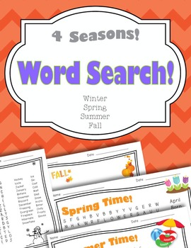Four Seasons Word Search Pack (Spring, Summer, Fall, Winter)