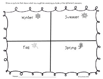 four seasons worksheet by ell teacher resources tpt. Black Bedroom Furniture Sets. Home Design Ideas