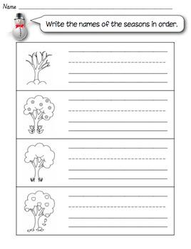 Four Seasons printable worksheet