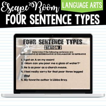 Four Sentence Types - Digital Escape Room