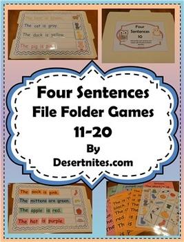 Four Sentences File Folder Game
