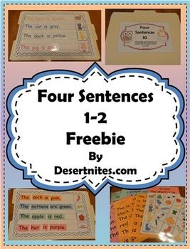 Four Sentences File Folder Game Freebie