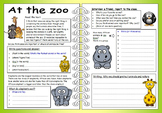 ESL EFL Four Skills Worksheet - At The Zoo