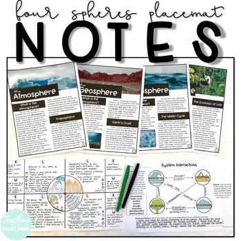 Earth's Four Spheres Placemat Notes