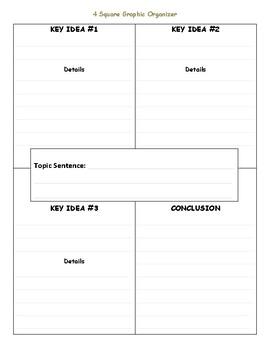 Four Square Graphic Organizer with lines - Spec. Edu. Friendly - Paragraph