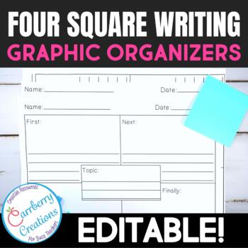 Four Square Writing Graphic Organizers Pack **Editable**