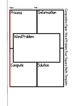 Four Square Math Graphic Organizer to Trace