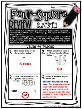 Four-Square Review - 2.NBT Quick Math Assessments