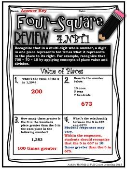 Four-Square Review - 4.NBT Quick Math Assessments