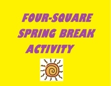 Four-Square Spring Break Activity (writing, grammar, etc) and Bonus Word Search