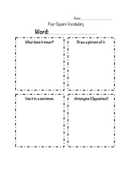 Four Square Vocabulary