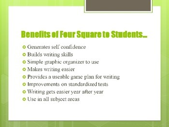 Writing Across Grade Levels Using Four Square