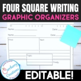 Four Square Writing Graphic Organizers Template Pack Editable
