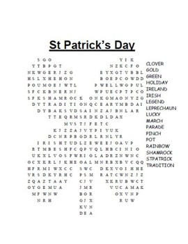 Four St. Patrick's Day Word Searches (Moderate Difficulty)