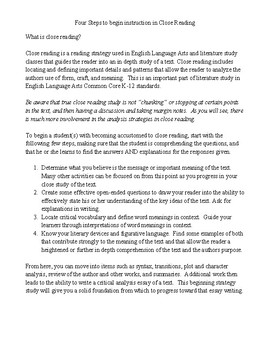 Four Steps to Close Reading Strategies
