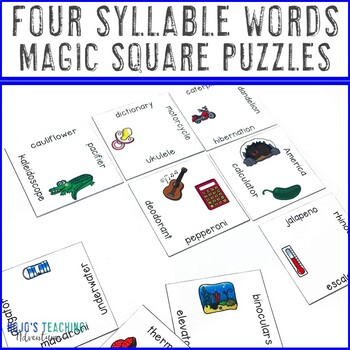 Four Syllable Word Literacy Center | Syllables Game | Syllables Activity