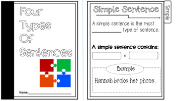 Four Types of Sentence Structure Interactive Flipbook and Powerpoint