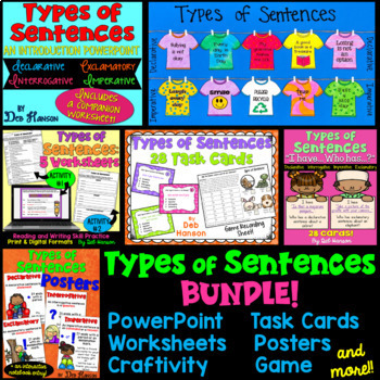 This types of sentences bundle is full of many engaging activities, including a PowerPoint, craftivity, worksheets, and games