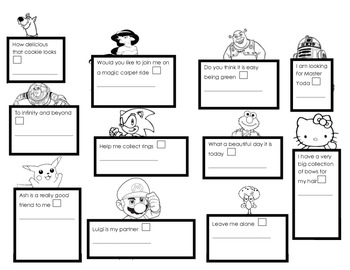 Four Types of Sentences - Character Worksheet