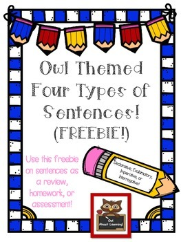 Four Types of Sentences FREEBIE!