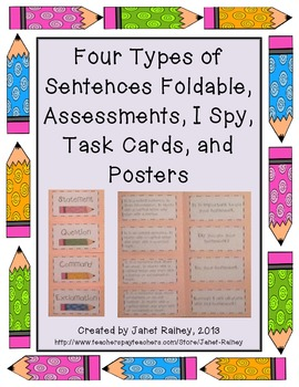 Four Types of Sentences Foldable, Assessments, Task Cards,