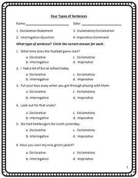 Four Types of Sentences Power Point and Printables