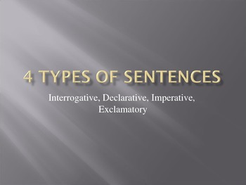 Four Types of Sentences Powerpoint Game