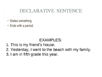Four Types of Sentences Powerpoint and/or Smartboard Presentation