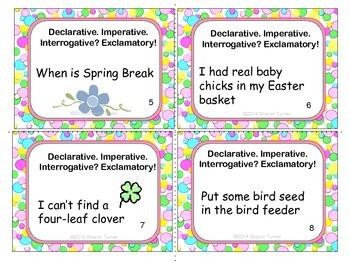 Four Types of Sentences Task Cards: Spring Theme