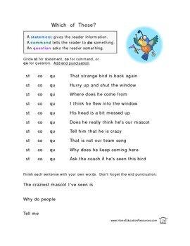 Four Types of Sentences Worksheets
