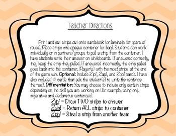 Four Types of Sentences Zip, Zap, Zop! Game