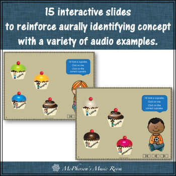 Four Voices Interactive Music Game + Assessment {cupcakes} calling version