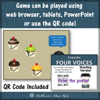 Four Voices Interactive Music Game + Assessment {cupcakes} shouting version