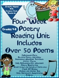 Poetry Reading Unit Four Week  Includes Over 50 Poems And