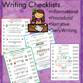 Writing Checklist Bundle   informational, procedural, narr
