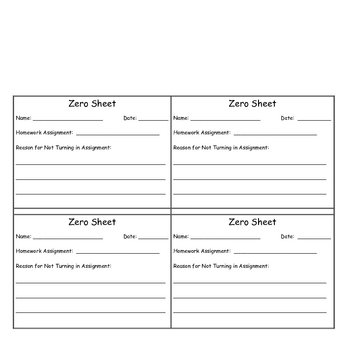 Four Zero Sheets on a Page