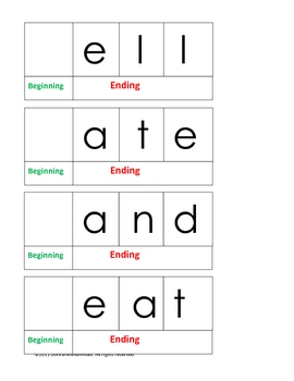 Four and Five letter Phonogram Word Spelling Mats